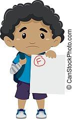menino, seu, exame, mostrando, falhado, pretas