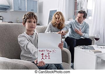 menino, seu, família, discutir, enquanto, pais, optimista, desenho, feliz