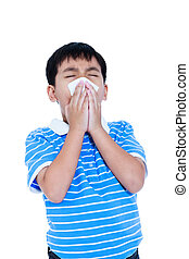 menino, seu, isolado, experiência., nariz soprando, branca, asiático, tissueon., bonito