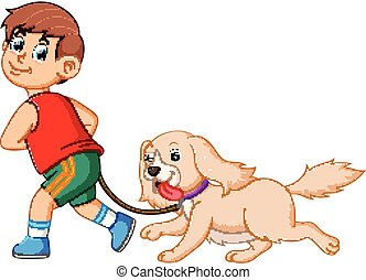 menino, seu, marrom, cute, cão, executando, puxando, feliz