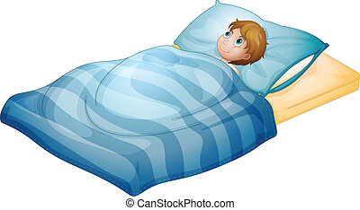 menino, seu, mentindo, cama