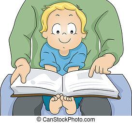 menino, seu, pai, livro, leitura, toddler