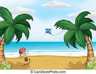 menino, seu, papagaio, jovem, praia, tocando