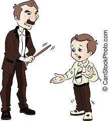 menino, seu, sendo, batido, teacher., vetorial