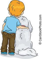 menino, seu, vista, costas, cão