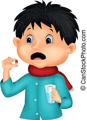menino, sicked, andorinhas, caricatura, pílula