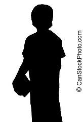 menino, silueta, adolescente, carregar, jovem, livros