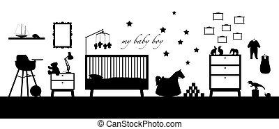 menino, silueta, sala, bebê, pretas, interior