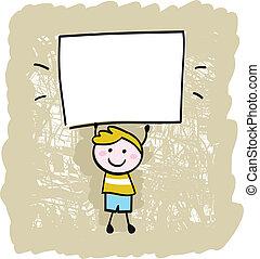 menino, sinal, segurando, em branco, criança, bandeira, feliz