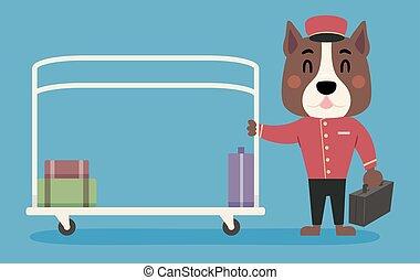 menino, sino, cão, ilustração, bagagem