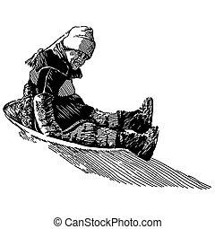 menino, sledding, forre desenho
