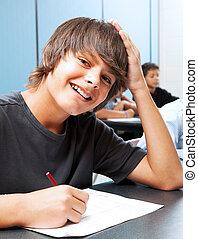menino, sorrindo, escola