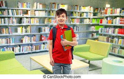 menino, sorrindo, livros, estudante, biblioteca