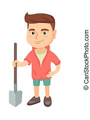 menino, sorrindo, segurando, shovel., caucasiano