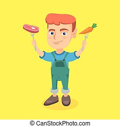 menino, steak., cenoura, segurando, fresco, caucasiano