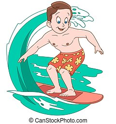 menino, surfando, caricatura, ondas