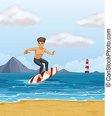 menino, surfando, praia