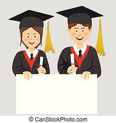 menino, tábua, em branco, graduado, menina, adolescente