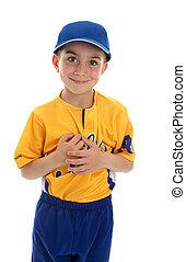 menino, t-bola, jogador basebol