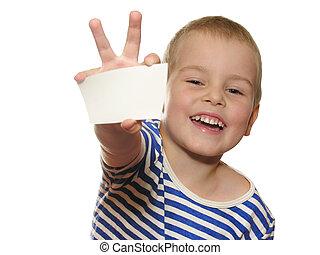 menino, t, cartão, sorrizo