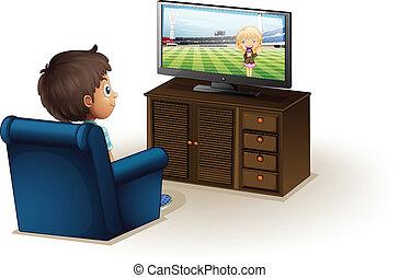 menino, televisão, jovem, observar