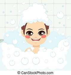 menino, tendo, banho