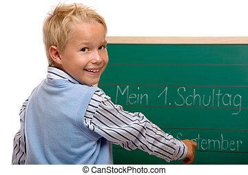 menino, tendo, seu, primeiro, schoolday