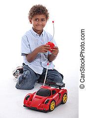 menino, tocando, com, car