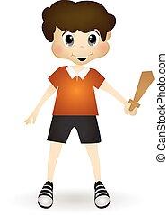 menino, tocando, com, um, brinquedo, espada