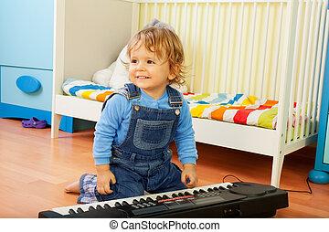 menino, tocando, compositor