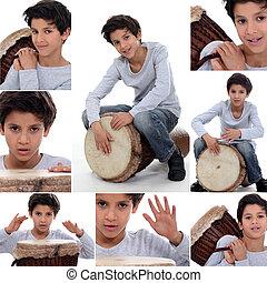 menino, tocando, ligado, um, tradicional, tambor