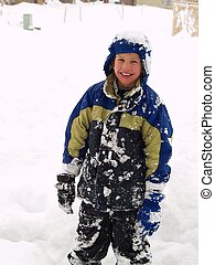 menino, tocando, neve