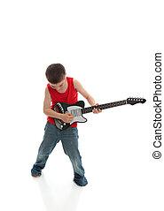 menino, tocando, um, guitarra