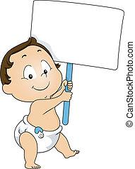 menino, toddler, tábua, segurando, em branco