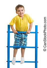 menino, topo, ginástica, feliz, escada, criança