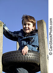 menino, torre, cvlimbing, pneumático