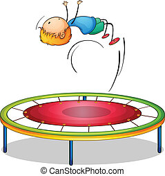 menino, trampoline, tocando