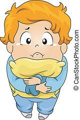 menino, travesseiro, chorando, criança