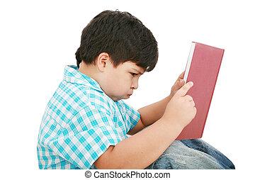 menino, tries, seu, jovem, dever casa