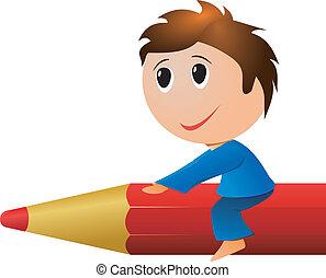 menino, um, pencil., vetorial