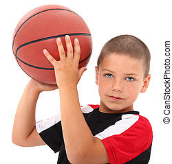 menino, uniforme basquetebol, jogador, criança, adorável