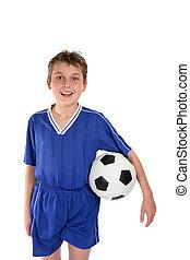 menino, uniforme futebol