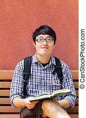 menino, universidade, asiático, estudante