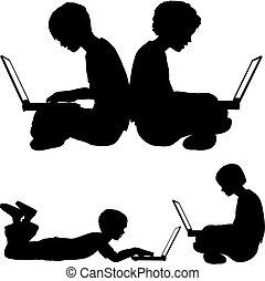 menino, uso, sentando, laptops, menina, ou, mentindo, chão