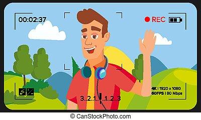 menino, vector., fluxo, apartamento, blogger, concept., online, vlog, guiando, ilustração, channel., blog, streaming, vídeo, registros, internet, video., caricatura, homem