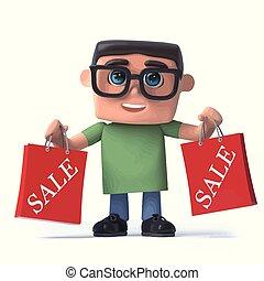 menino, vendas, sido, 3d, tem, óculos