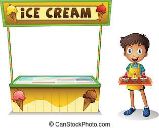 menino, vender, creme, gelo, verão