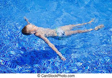 menino, verão, park., criança, adolescente, nada, feliz, vacation., piscina, aqua