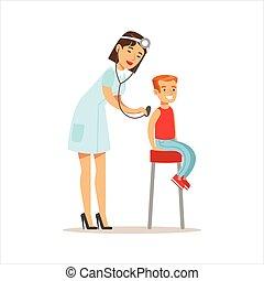 menino, verificado, exame, doutor, médico, sthetoscope,...