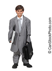 Menino, vestido, homem negócios